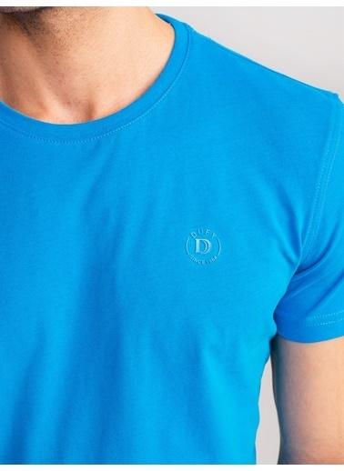 Dufy Mıntı Pamuklu Firçali Süprem Erkek T-Shirt - Slim Fit Turkuaz